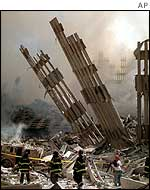 Fire-fighters in the rubble of the World Trade Centre